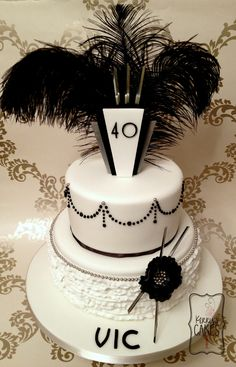 Art Deco Style Birthday Cake The Birthday Girl Was Having A Themed Birthday Cake So I Thought Id Go Flapper Girl Art Deco style. Themed Birthday Cakes, Themed Cakes, Girl Birthday, 50th Birthday, Birthday Celebration, Birthday Ideas, Birthday Parties, 1920s Cake, Hollywood Cake