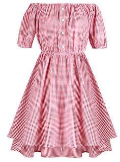 Gingham Vintage off Shoulder Boat Neck Short Sleeve Swing Dress