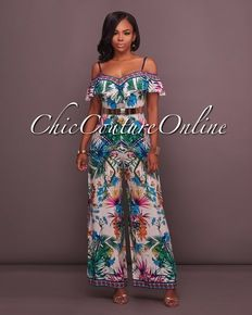 Portia Ivory Cold Shoulder Ruffle Printed Jumpsuit