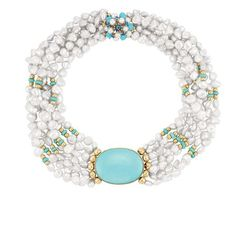Seven Strand Freshwater Pearl, Turquoise and Turquoise and Gold Bead Torsade Necklace. photo Doyles New York