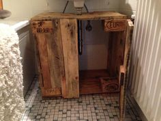 Bathroom cabinet: cupboard below sink from pallet timber - Pallet Furniture Wooden Pallet Furniture, Wooden Pallets, Diy Garden Decor, Bathroom Cabinets, Bath Design, Cupboard, Entryway Tables, Furniture Design, Sweet Home