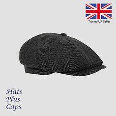 593c05673f3 Mens Flat Cap Grey herringbone Newsboy Bakerboy Hat Gatsby Peaky Blinders  Panel Hat