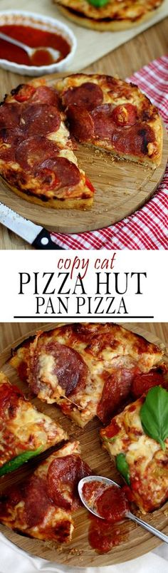 Copycat Pizza Hut Pizza with peperoni and a crunchy crust | Copycat Pizza Hut Pan Pizza mit Salami und knusprigem Boden