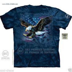 American Pride US Flag Eagle T-Shirt/They Defend,We support our troops