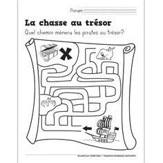 Fichier PDF téléchargeable En noir et blanc seulement 1 page  L'enfant doit trouver le bon chemin pour se rendre au trésor.