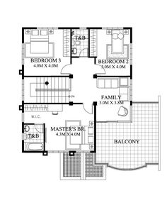 Two Story House Design With Four Bedrooms, Three Bathrooms and Balcony – Amazing Architecture Magazine Two Story House Design, Double Story House, Modern House Design, 3 Bedroom Home Floor Plans, House Floor Plans, Morden House, Filipino House, Two Storey House Plans, Traditional House Plans