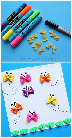 Beautiful butterfly card Tip:instead of pasta we can use colorful marble papers too.