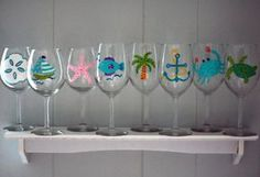 Beach Themed Hand-Painted Wine Glasses    This is a custom-made set of 4 hand-painted wine glasses perfect for your beach home, summer parties, or