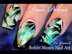 Hot Summer Nails | Tropical Diva Teal Nail Art Design Tutorial - YouTube