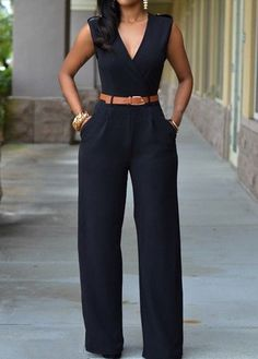 Sleeveless Pocket Design V Neck Black Jumpsuit
