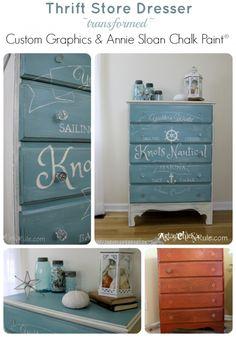 Knots-Nautical-Thrift-Store-Dresser-Custom-Graphic-Provence-Chalk-Paint- artsychicksrule.com #chalkpaint