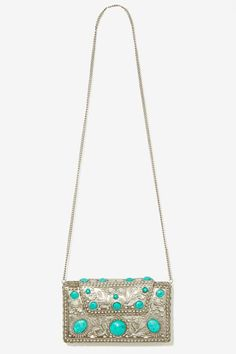 From St Xavier Elsi Turquoise Clutch #Bags #Backpacks