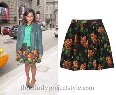 Mindy was filming The Mindy Project yesterday wearing this rose print skirt with a leather jacket and jeweled sweater vest!