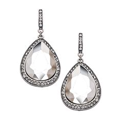 Blu Bijoux Large Crystal Silver Teardrop Earrings ($32) ❤ liked on Polyvore featuring jewelry, earrings, fashion jewelryearrings, blu bijoux jewelry, tear drop earrings, silver teardrop earrings, crystal jewelry and silver crystal earrings