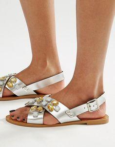 Image 1 ofGlamorous Embellished Cross Strap Flat Sandals