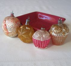Antique Mercury Glass Christmas Ornaments made in Germany