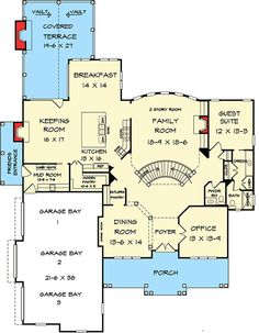 Adjust the room sizes, add master suite move a couple things around, and this is a great place to start.This says: Craftsman European Traditional House Plan 58256 Level One House Plans And More, Family House Plans, Best House Plans, Dream House Plans, House Floor Plans, Stone House Plans, European Plan, European House, Floor Plan Drawing