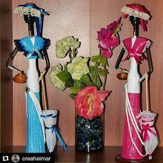 Creaciones Heimar Hermosas muñecas africanas confeccionadas con material de reciclaje