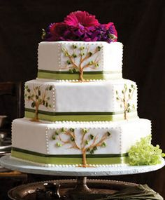 Un pastel exagonal, los árboles lucen lindos y el topping probablemente cabría bien.