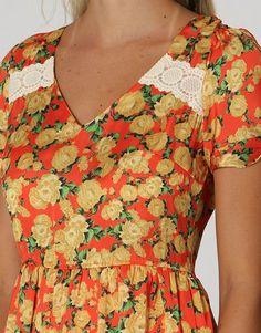 Vestido Kanui Clothing   Co. Cetim Floral Roupas Femininas Vestidos 93ec17a1ee89c