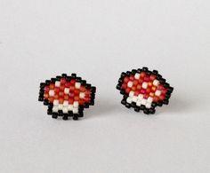 Mushroom Stud Earrings Toadstool Earrings Beaded Jewellery