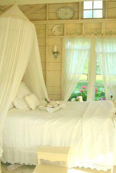 Beautiful rustic yet romantic white bedroom