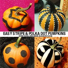 Easy Stripe and Polka Dot Pumpkins