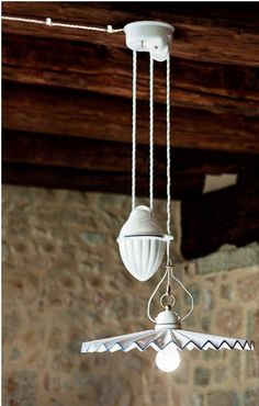 Stunning Hand-made Italian Rise and Fall Pendant. This particular pendant is available with various colour trim around the shade (or none), and also in a single pendant (without pulley) option. 2 size shades available : 280mm or 420mm