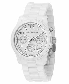 Michael Kors Watch, Women's Chronograph Runway White Ceramic Bracelet 38mm MK5161 - All Michael Kors Watches - Jewelry & Watches - Macy's