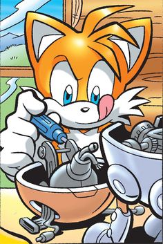 Hmmm... what is Tails working on? Find out in the SONIC UNIVERSE 5: THE TAILS ADVENTURE graphic novel out in comic shops today!