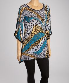 Another great find on #zulily! Blue & Black Jungle Tunic - Plus by Sole Dione #zulilyfinds