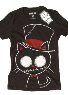 9702ab8d07c This short sleeve Akumu Ink crewneck t-shirt features hand-drawn artwork of  a stitched-up zombie cat in a top hat and bowtie. Our small coffin shaped  logo ...
