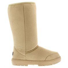 Damen Schuhe Classic Hoch Fell Schnee Regen Stiefel Winter Fur Boots - Beige - 38 - AEA0209 - Stiefel für frauen (*Partner-Link)