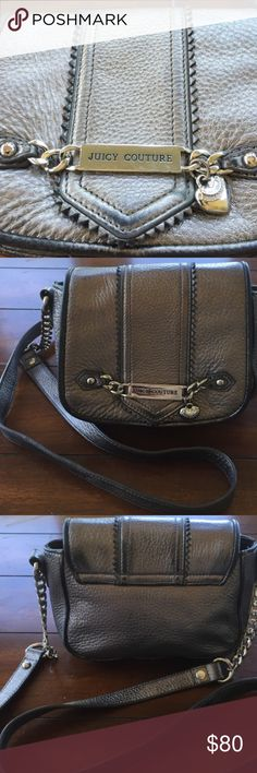 """JUICY COUTURE AWESOME CROSS BODY EUC JUICY COUTURE cross body leather purse in a pretty pewter color. Excellent bag with silver chain detailing and snap closure also includes silver signature """"juicy"""" heart on front. It was carried a half a dozen times. Interior is in excellent condition in an eggplant silk fabric with signature """"juicy"""" crown print. Outside is in great shape with minimal signs of use. Juicy Couture Bags Crossbody Bags"""