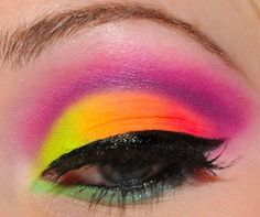 A neon rainbow of eye shadow, would be cool for an 80s party