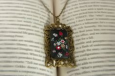 Red and black necklace vintage victorian by LandOfJewellery