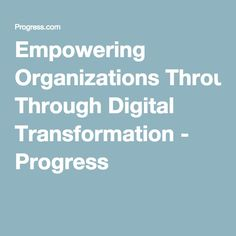 Empowering Organizations Through Digital Transformation - Progress