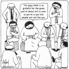 Getting in and Kicking Out REPRODUCTION cartoon PRINT New Item from Naked Pastor