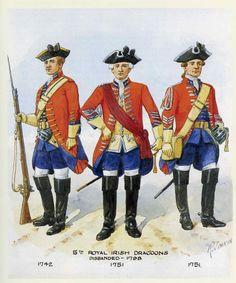 British; 5th Royal Irish Dragoons, Dragoon 1742, Officer, 1751 and Dragoon 1751.