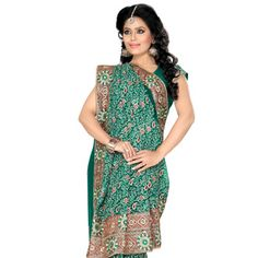 Teal Green Faux Georgette Saree with Blouse