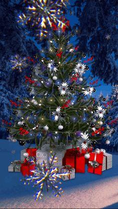 Animated Christmas Tree, Merry Christmas Gif, Christmas Night, Christmas Scenes, Christmas Love, Christmas Wishes, Christmas Pictures, Christmas Greetings, Beautiful Christmas