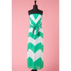 Green Chevron Strapless Maxi Dress $36.99