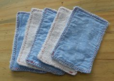 set of 5 baby boy washcloths or wipes, terry cloth and reclaimed fabric, 2 ply, 3 x 5.5. $4.00, via Etsy.