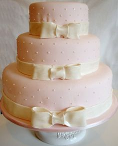 Pink and White Swiss Pearl Cake by Pink Cake Box in Denville, NJ. Bow Cakes, Fondant Cakes, Cupcake Cakes, Cupcakes, Pretty Cakes, Beautiful Cakes, Amazing Cakes, Bridal Shower Cakes, Baby Shower Cakes