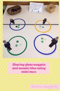Sharing glass nuggets between our friends- mini me-s. Division Activities, Numeracy Activities, Problem Solving Activities, Math Division, Early Years Teaching, Early Years Maths, Early Math, Early Learning, Maths Eyfs