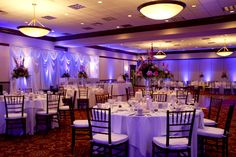 Awesome Uplighting for your reception! This is the Cleveland Marriot East Hotel and I recommend Billy J Full Spectrum Entertainment for all your lighting needs! Photo by Kay Ronevich