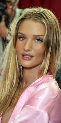 Rosie Huntington Whiteley VS pink satin robe