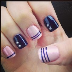 simple pink and black nail design