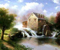 Kinkade - Blessings of Summer Thomas Kinkade Art, Kinkade Paintings, Oil Paintings, Thomas Kincaid, Art Thomas, Summer Painting, Old Trees, Beautiful Paintings, Beautiful Scenery