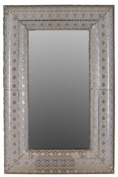Metal Rectangular Wall Mirror Pierced Metal Silver